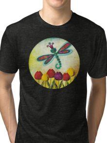 Dragonfly & Tulips Tri-blend T-Shirt