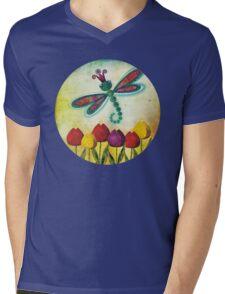 Dragonfly & Tulips Mens V-Neck T-Shirt