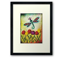 Dragonfly & Tulips Framed Print