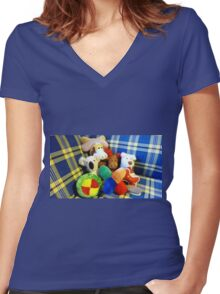 Eddie's Toys - sit on settee in Family room Women's Fitted V-Neck T-Shirt