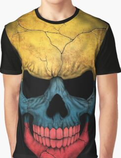 Colombian Flag Skull Graphic T-Shirt