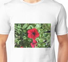 Red flowers and green leaves, natural background. Unisex T-Shirt