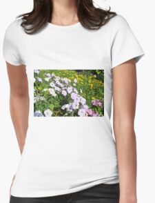 Purple and pink flowers in the park. Womens Fitted T-Shirt