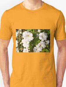 White flowers in the green bush. T-Shirt