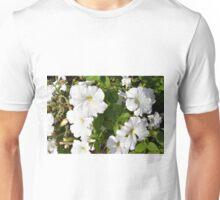 White flowers in the green bush. Unisex T-Shirt