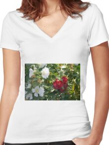 Red and white flowers in the park. Natural background. Women's Fitted V-Neck T-Shirt