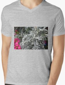 Green plants and flowers in the park. Mens V-Neck T-Shirt