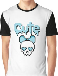 8-bit Cute Skull Pastel Goth (Blue) Graphic T-Shirt