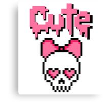 8-bit Cute skull Pastel Goth (Pink) Canvas Print
