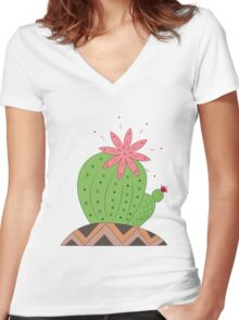 Bright Cactus Vector Illustration Women's Fitted V-Neck T-Shirt