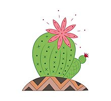 Bright Cactus Vector Illustration Photographic Print