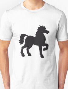schattenriss umrandung black cool riding horse stallion equestrian comic cartoon T-Shirt