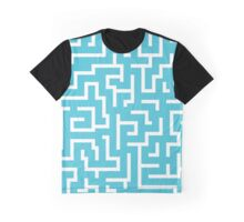 White and blue labyrinth maze pattern Graphic T-Shirt