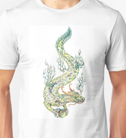 Water dragon retaining in the paws of a pearl (color) Unisex T-Shirt