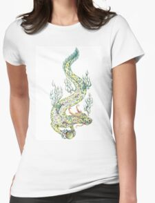 Water dragon retaining in the paws of a pearl (color) Womens Fitted T-Shirt