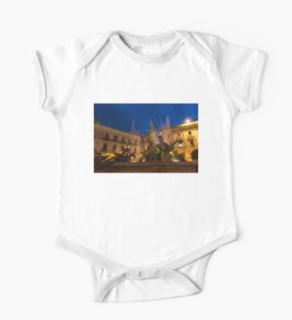 Of Rearing Sea Horses and Mermen Riders - Diana Fountain in Syracuse, Sicily One Piece - Short Sleeve