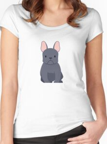 French bulldog in black  Women's Fitted Scoop T-Shirt