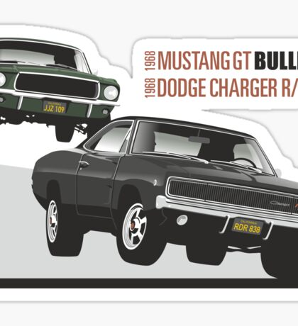 Ford Mustang GT and Dodge Charger from Bullitt Sticker