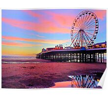 Central Pier Blackpool UK Poster