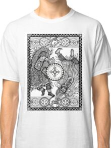 Dancing with a tambourine shaman, in a beautiful frame with a hare, fox and sheep Classic T-Shirt