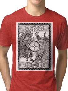 Dancing with a tambourine shaman, in a beautiful frame with a hare, fox and sheep Tri-blend T-Shirt