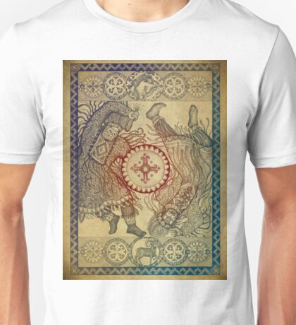 Dancing with a tambourine shaman, in a beautiful frame with a hare, fox and sheep (color fon) Unisex T-Shirt