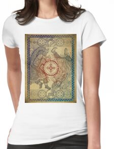 Dancing with a tambourine shaman, in a beautiful frame with a hare, fox and sheep (color fon) Womens Fitted T-Shirt