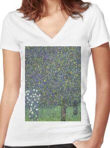 Gustav Klimt - Roses Under The Trees-   Gustav Klimt - Landscape Women's Fitted V-Neck T-Shirt