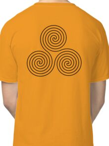Triple Goddess symbol, Neolithic, triple, spiral, symbol, Neo, Pagan, BLACK on WHITE Classic T-Shirt