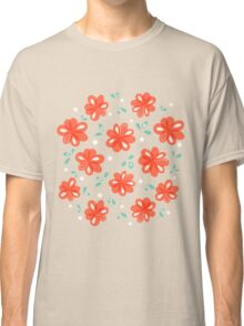 Cheerful Red Flowers Pattern Classic T-Shirt