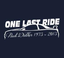 One Last Ride - Paul Walker RIP (white) Kids Tee