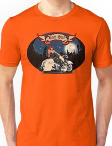 Cartoon motorbiker at night city background Unisex T-Shirt