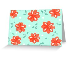 Cheerful Red Flowers Pattern Greeting Card