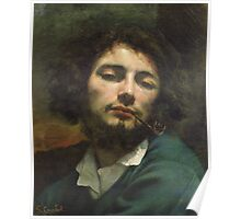 Vintage famous art - Gustave Courbet - Self Portrait Or, The Man With A Pipe Poster