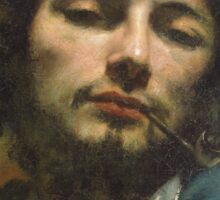 Vintage famous art - Gustave Courbet - Self Portrait Or, The Man With A Pipe Sticker