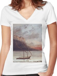 Vintage famous art - Gustave Courbet - Sunset Over Lake Leman Women's Fitted V-Neck T-Shirt