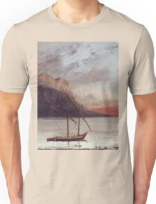 Vintage famous art - Gustave Courbet - Sunset Over Lake Leman Unisex T-Shirt