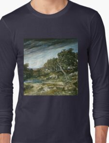 Vintage famous art - Gustave Courbet - The Gust Of Wind,  1865 Long Sleeve T-Shirt