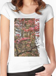 Pink Spring Dogwood Women's Fitted Scoop T-Shirt