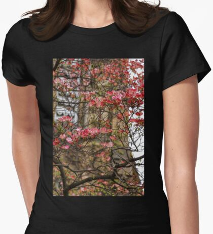 Pink Spring Dogwood Womens Fitted T-Shirt