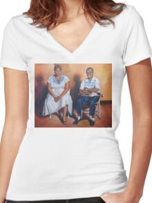 Ella Fitzgerald & Louis Armstrong Women's Fitted V-Neck T-Shirt
