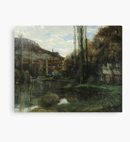 Vintage famous art - Gustave Courbet - The Mirror On The River Loue At Scey-En-Varais, Near Ornans Canvas Print