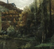 Vintage famous art - Gustave Courbet - The Mirror On The River Loue At Scey-En-Varais, Near Ornans Sticker