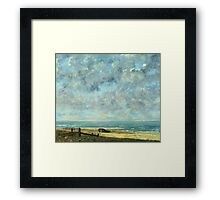 Vintage famous art - Gustave Courbet - The Sea Framed Print