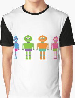 Colourful Cartoon Robots Graphic T-Shirt