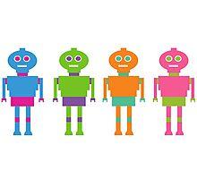 Colourful Cartoon Robots Photographic Print