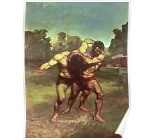 Vintage famous art - Gustave Courbet - The Wrestlers Poster