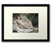 Vintage famous art - Gustave Courbet - Bathers Or Two Nude Women Framed Print