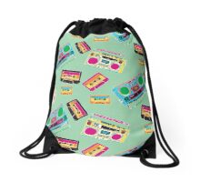 Boombox and Cassettes Drawstring Bag