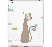 Whimsical Cat and Fish iPad Case/Skin